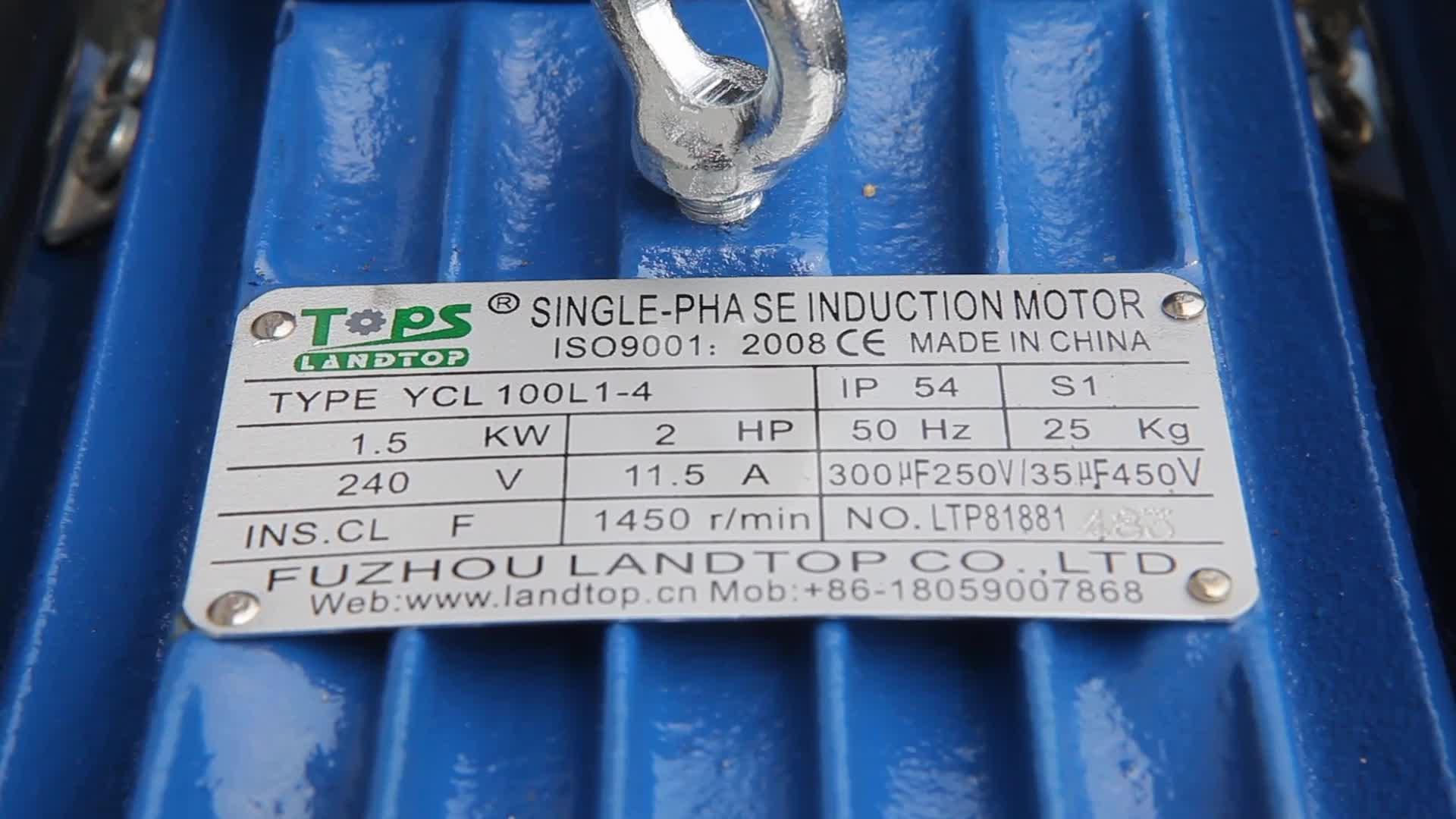 Landtop Yc Eenfase Condensator Start Inductie Elektrische Motor 0.5hp 1hp 2hp 3hp 5hp 220V