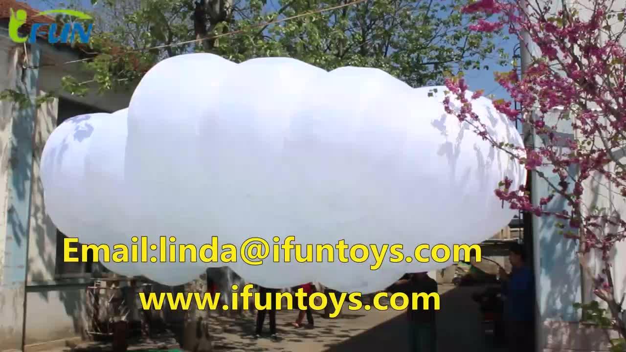 Vliegende Opblaasbare Led Verlichting Cloud Ballon Voor Fase Decoratie/Prachtige Giant Led Opblaasbare Pvc Cloud Ballonnen