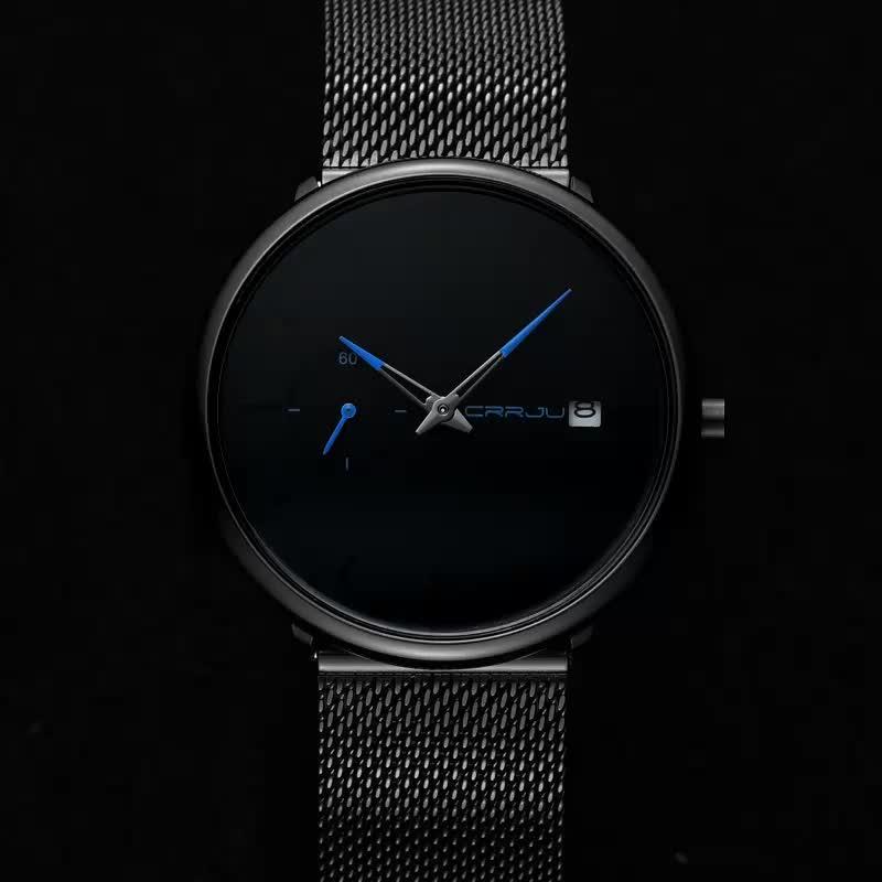 Classic Men Luxury Brand Watches Black Stainless Steel Minimalist Male Analog Clock Waterproof CRRJU 2263 Quartz Men Wrist Watch