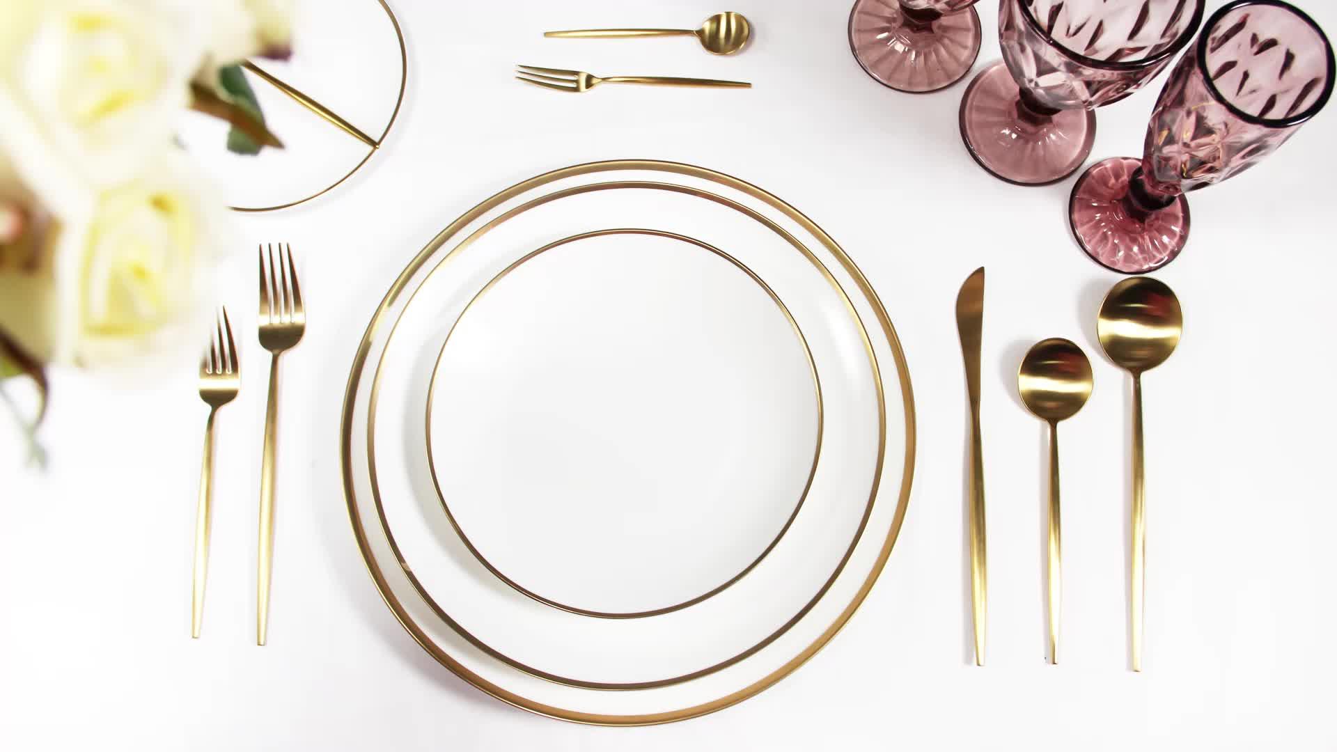 Beste Verkauf Dinner Parties Hochzeit PS Gold Umrandeten Keramik Ladegerät Platten