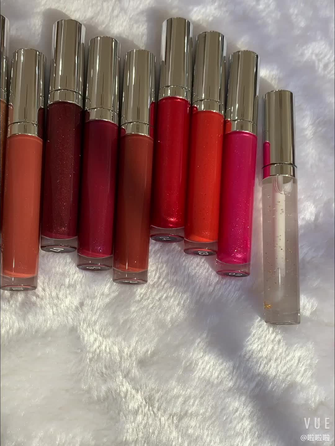 Wholesale clear glossy shiny private label lip gloss low moq nude glitter custom labels lipgloss