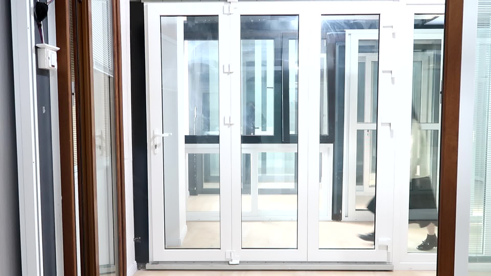 AWA And WERS Certified Wooden Color Temper Glass Folding Bifold Accordion Windows Price