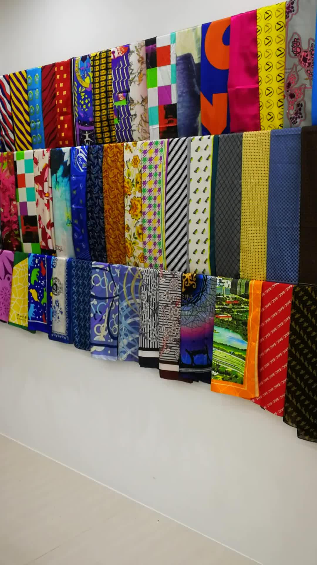 长款真丝数码印花围巾丝巾定制广州丝巾来图订做数码喷印丝巾加工