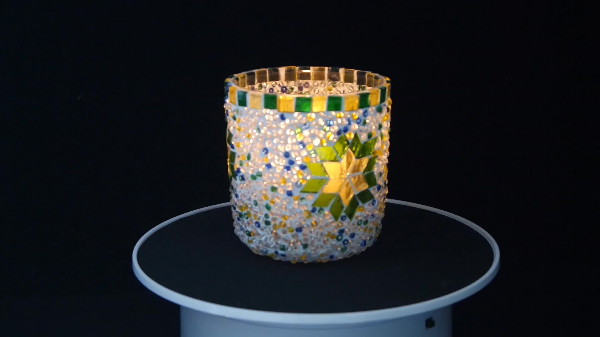 Mosaic glass candle container