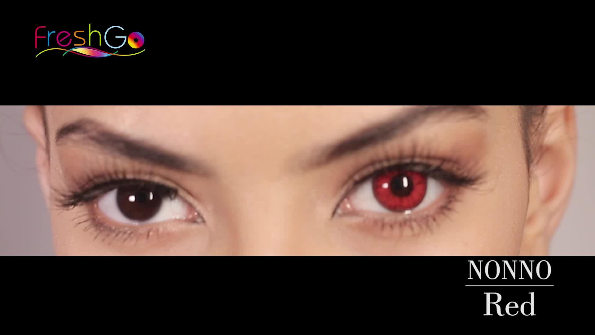 Freshgo hot sale hazel cheap green color contact lenses wholesale magic eye red cosmetic circle lens