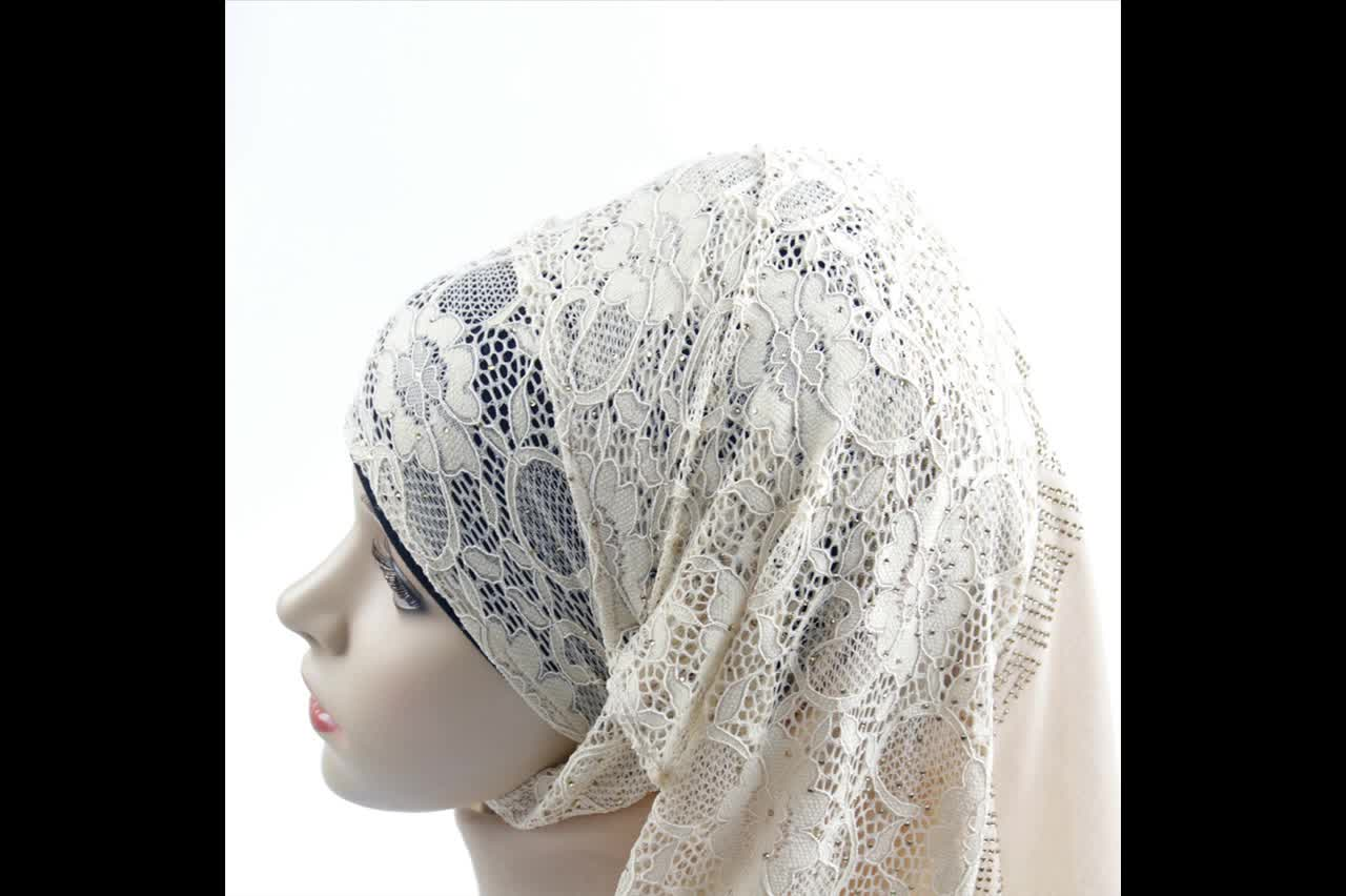 Wholesale Chiffon trim Lace Hijab of carbon drill with flower for muslim women scarf