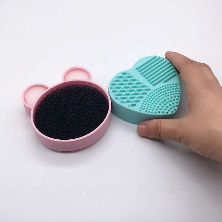 Color Off Makeup Brush Cleaner Sponge  Remover silicone Make up Brushes Cleaning Mat Box Powder Brush Washing Scrubber