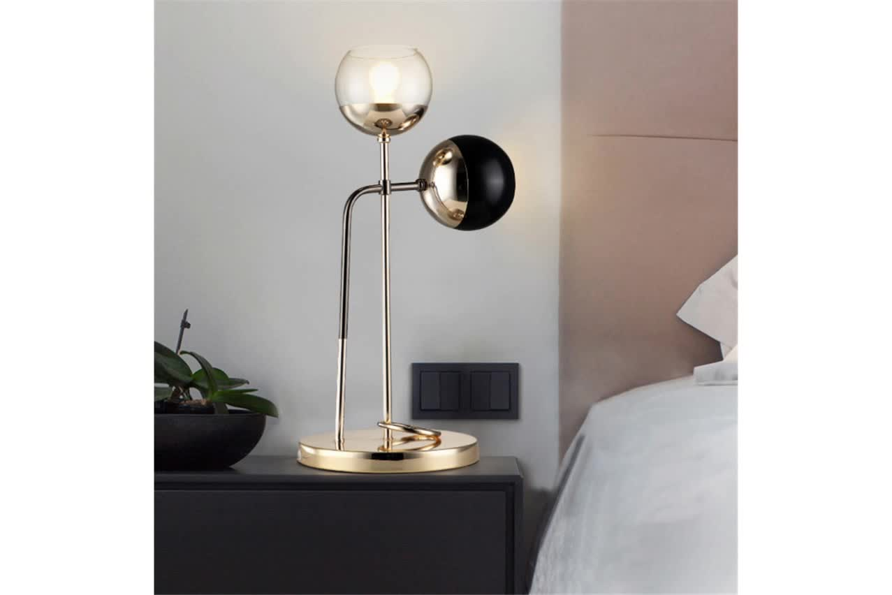Luxury modern decor dual glass ball table lamp for room
