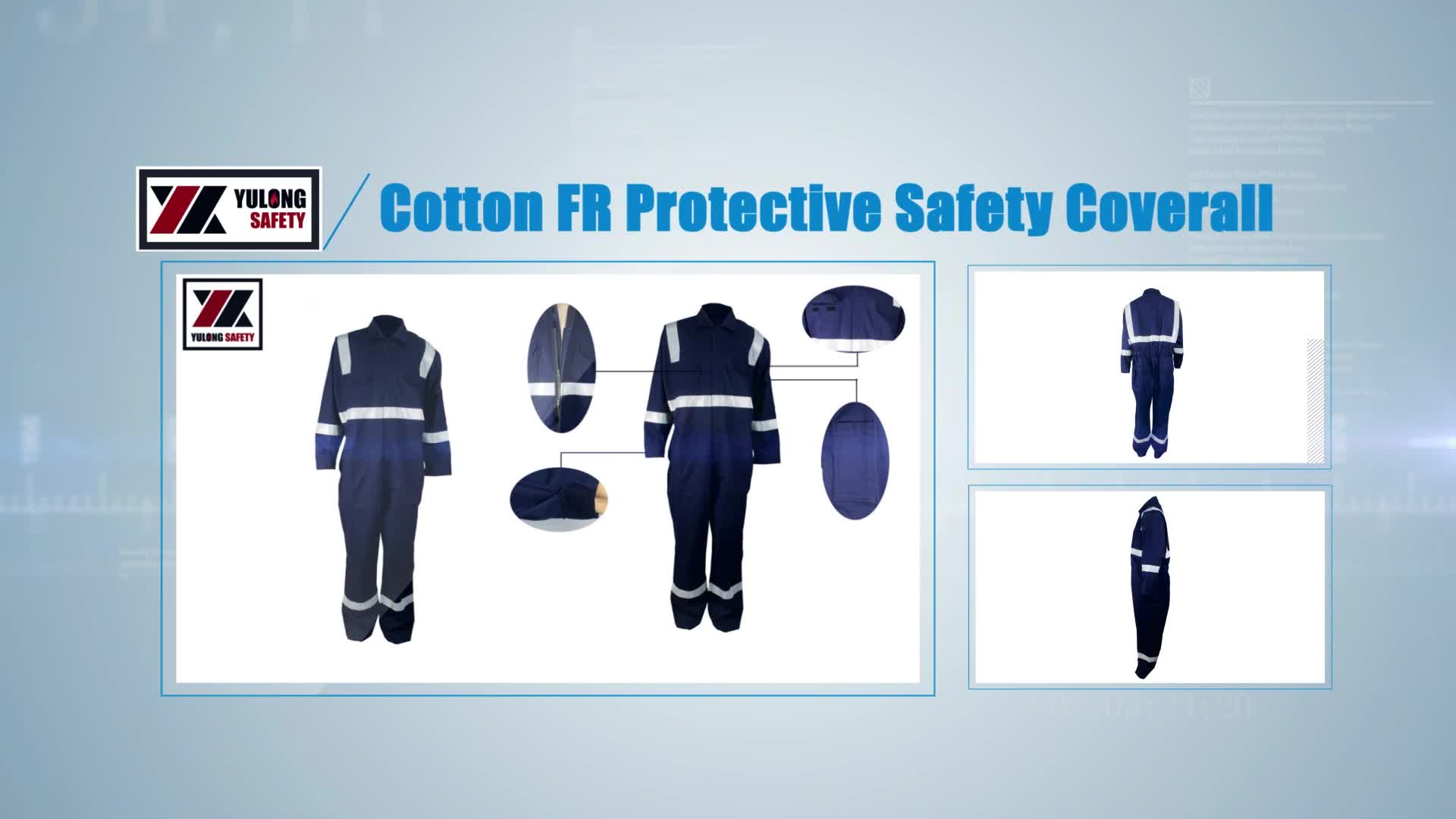 Custom Work Reflective Safety Blue Flame Resistant Coverall