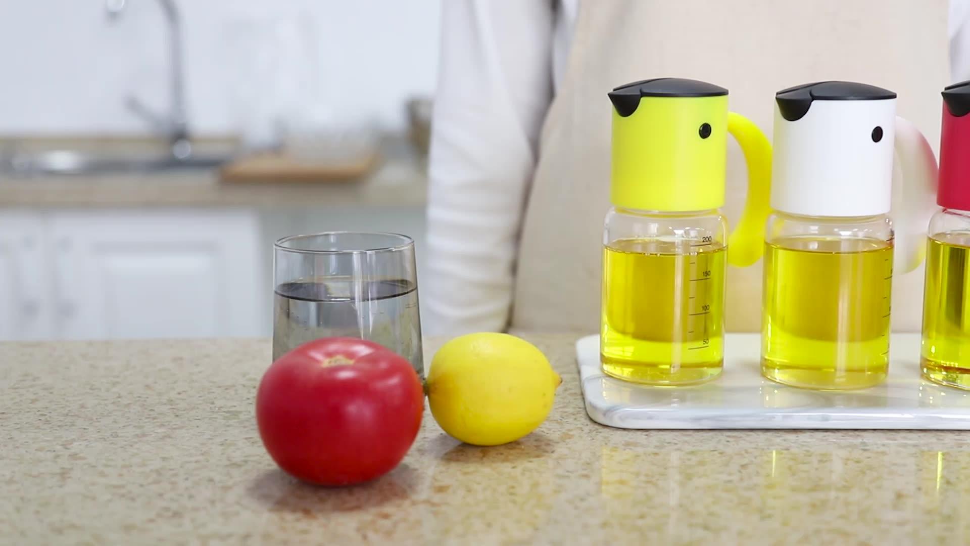Chinarama PP Nhựa Cơ Thể Tự Động Trọng Lực Dầu Ô Liu Và Giấm Dispenser Với 220Ml Borosilicate Glass Jar