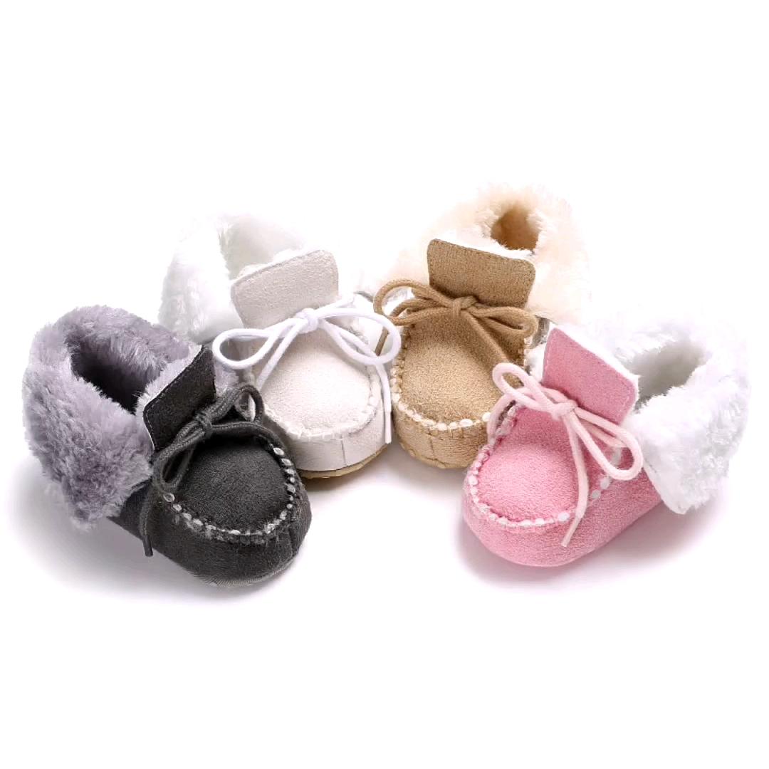 Bebé niño princesa niña bebé niños de invierno mantener caliente suave suela sólido color caqui cuna Zapatos bebé recién nacido niños botas botín