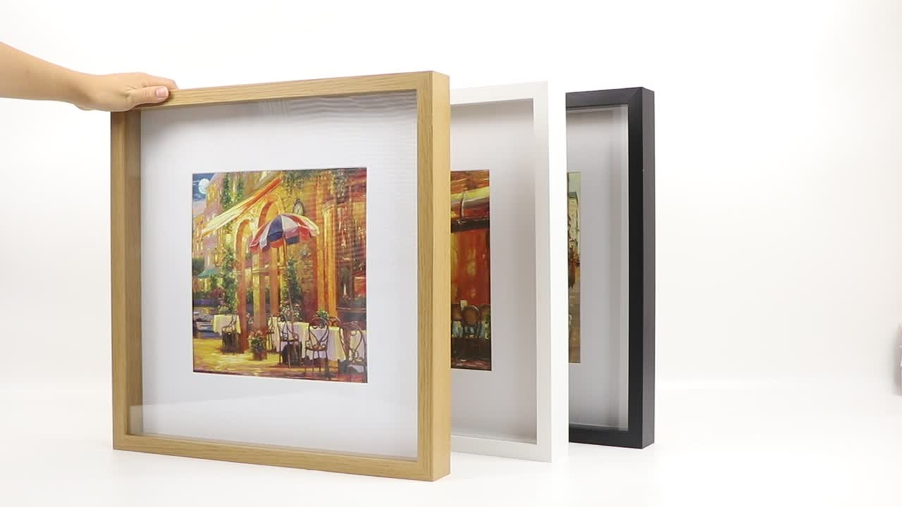 "Shadow box photo frame, 16x16"" size with 24x24cm mat, 3 colors picture frame"