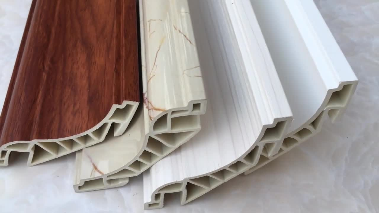 Foshan manufacture free sample wood interior decoration custom pvc ceiling cornice