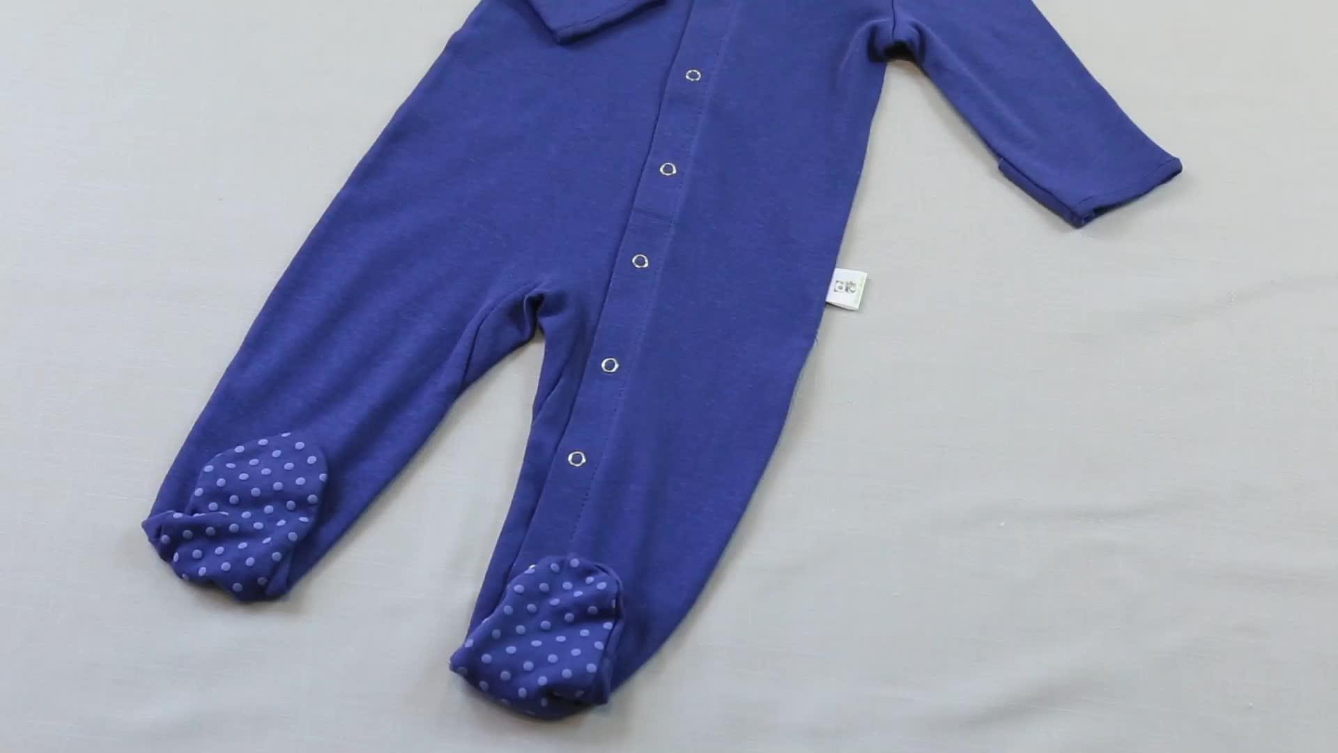 Zafer bebek GOTS sertifikalı organik pamuk bebek pijama footie uyuyan bebek kıyafetleri bebek pijama