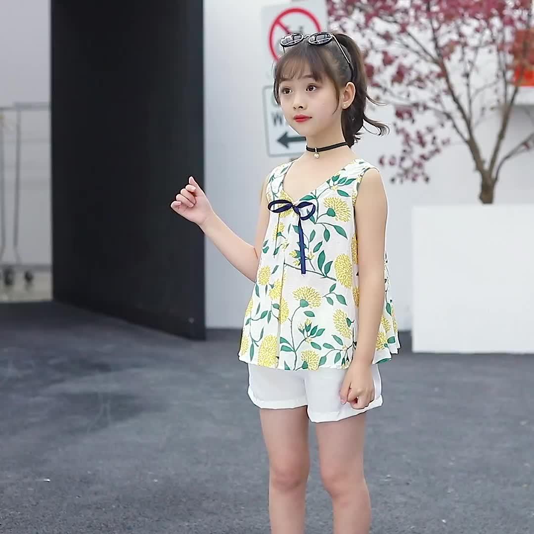 Children Girls Summer Clothing Set Floral Print Fashion Short Sleeve Top+ Pants Kids Clothes Set