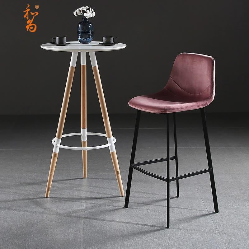 北欧吧台椅靠背家用高餐椅设计师个性吧台凳高脚凳创意酒吧高椅子