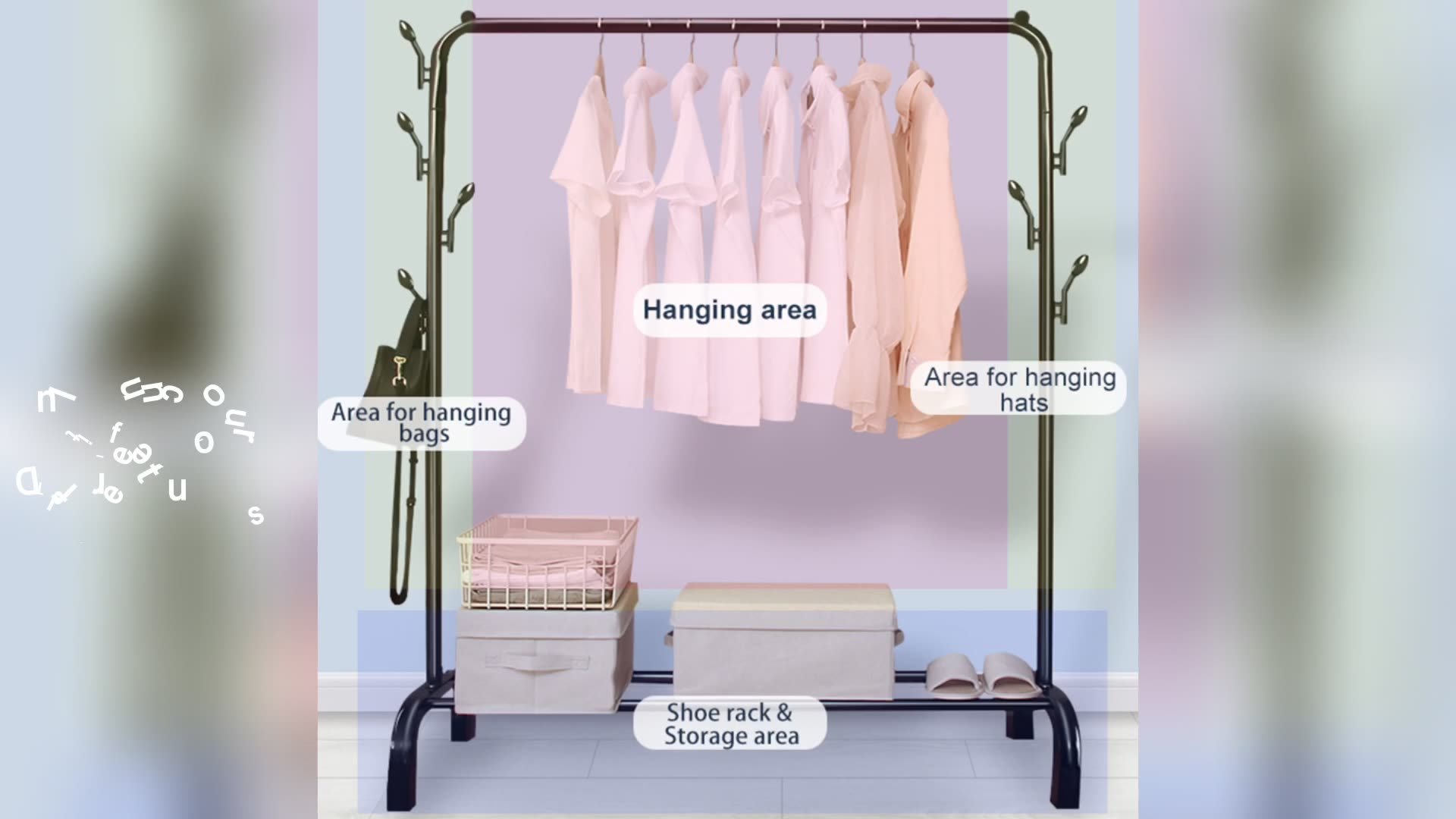 Bedroom Storage Shelves Clothes Hanging Stand  with Side Hook Children And Adult Coat Hat Rack