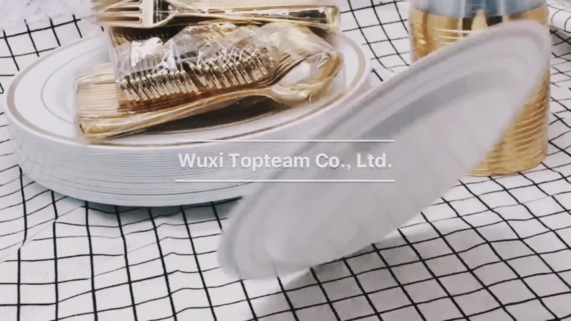 פלסטיק כלי אוכל סט למסיבות, 350 חתיכות חד פעמי זהב סט כלי אוכל