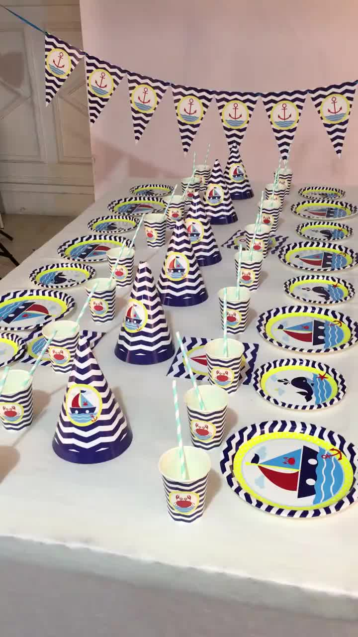 Nautical Sailing Party Supplies จาน Napkins ถ้วยเรือกะลาสีเรือเรือ Theme Navy สีแดงสีขาว Disposable Tableware Decor