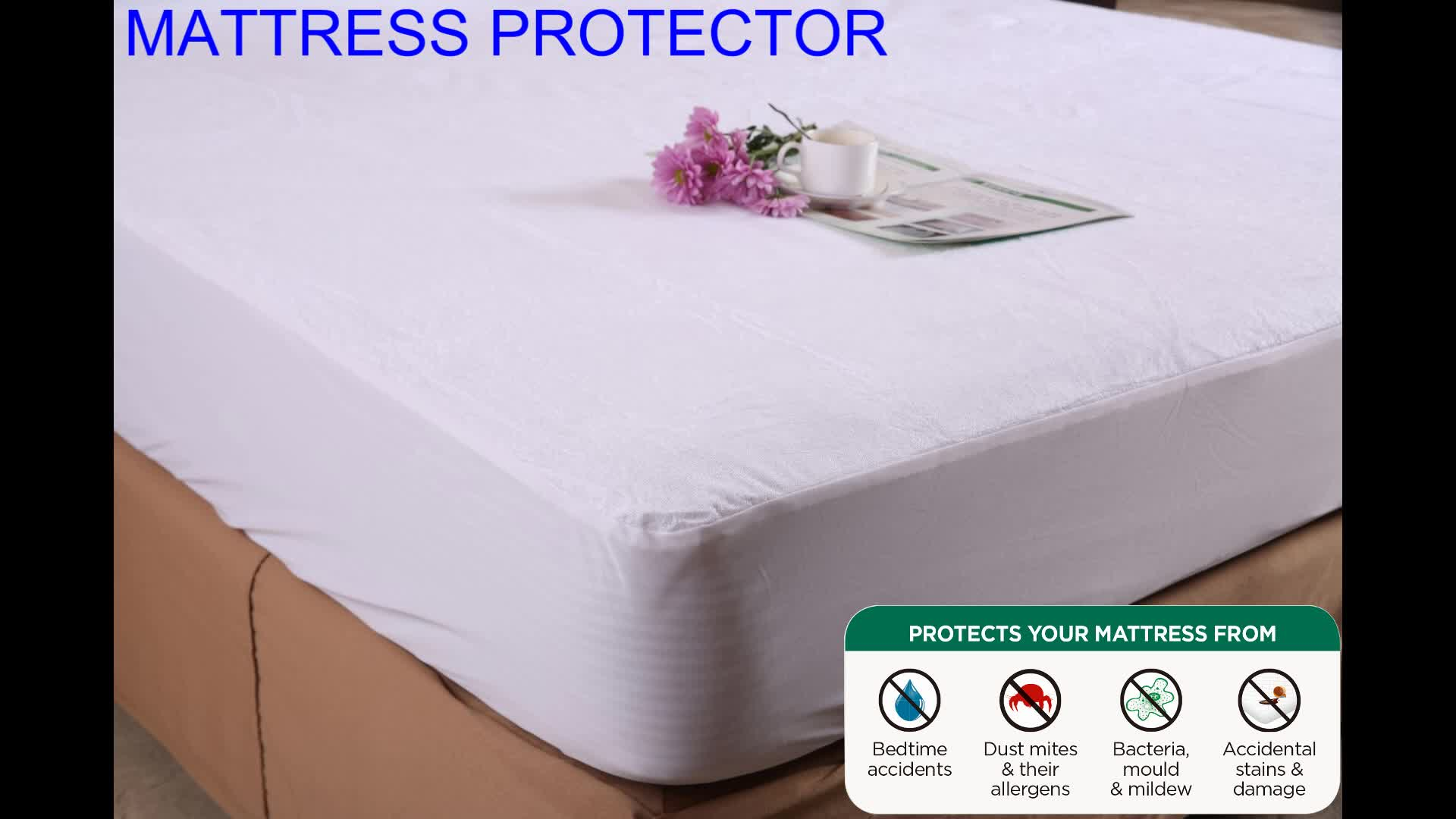 Hypoallergenic Waterproof Mattress Protector with Terry+TPU 80% Cotton 20% Polyester