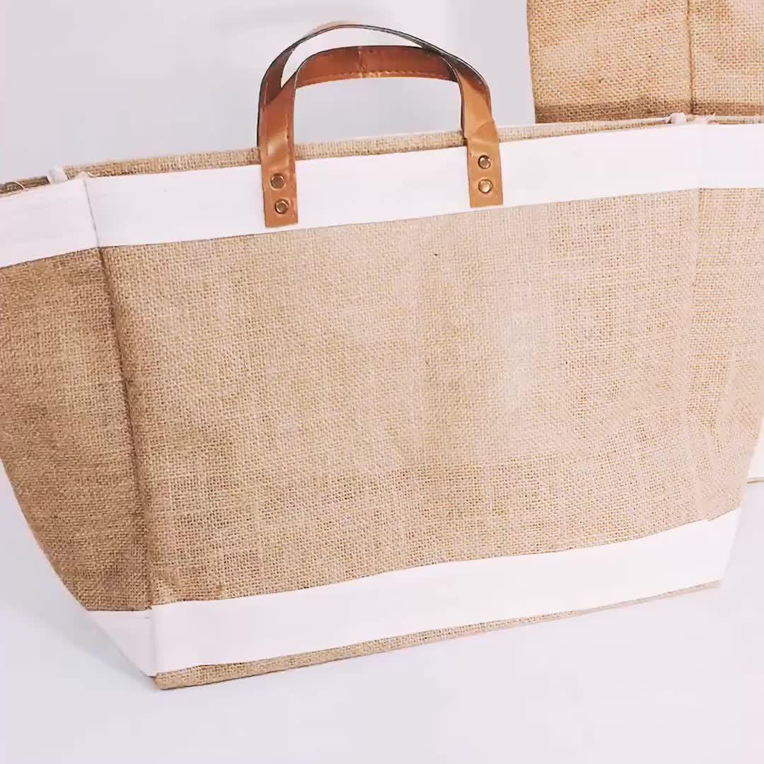 Eco ปอกระเจากระเป๋าถือหนังเทียมพกพา jute กระเป๋า