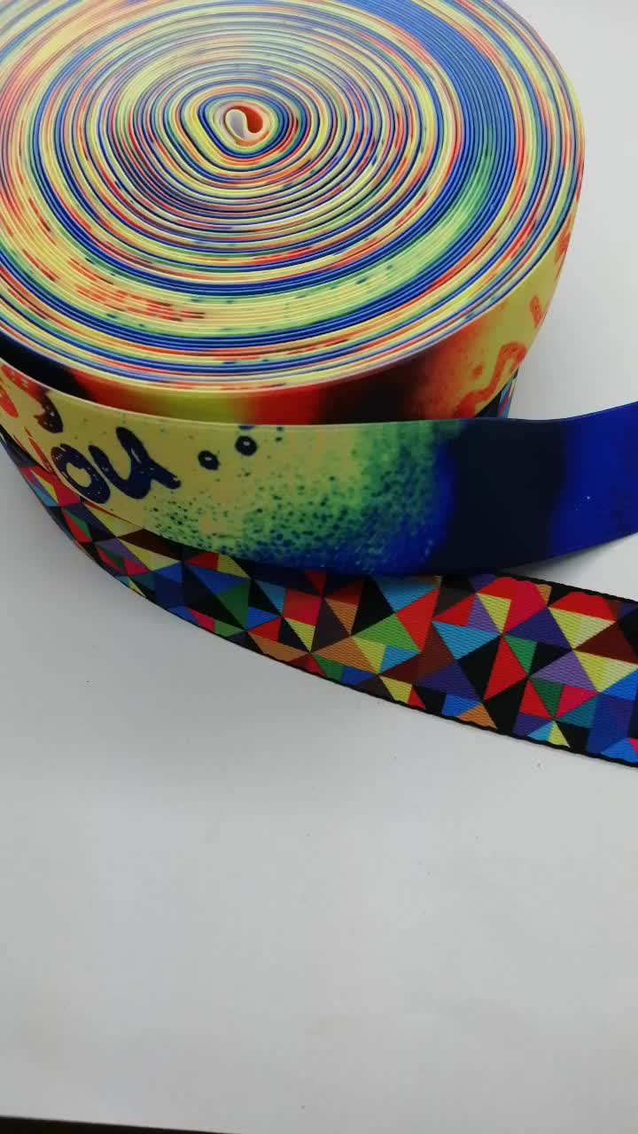 Two sides Heat transfer printing decorative customized polyester webbing tape for garment