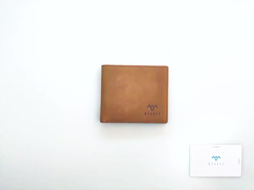 Factory price hot sale brown nubuck genuine leather rfid men credit card holder wallet