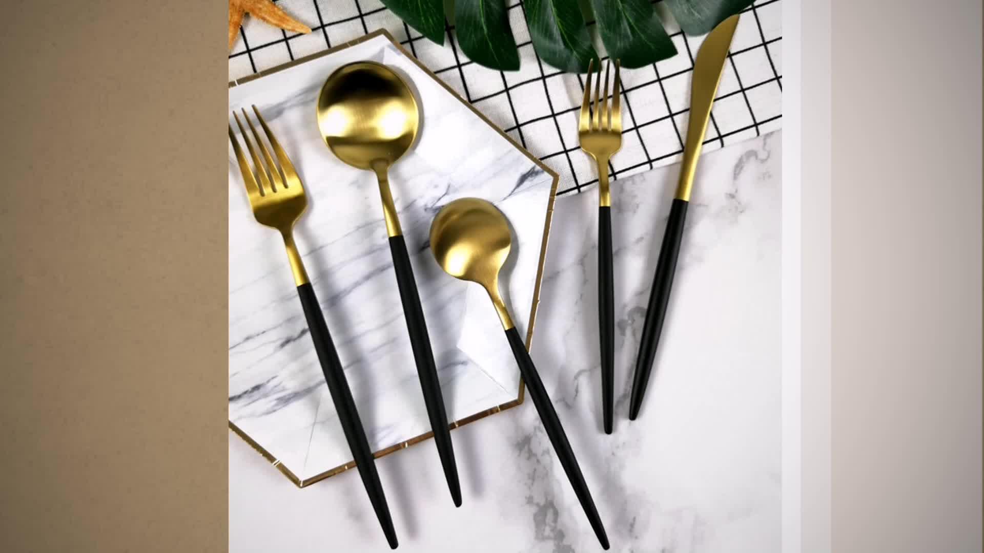 Black Handle and Gold Plated hotel Cutlery Matte golden flatware sets buffet brass copper utensils for Kitchen wedding rental