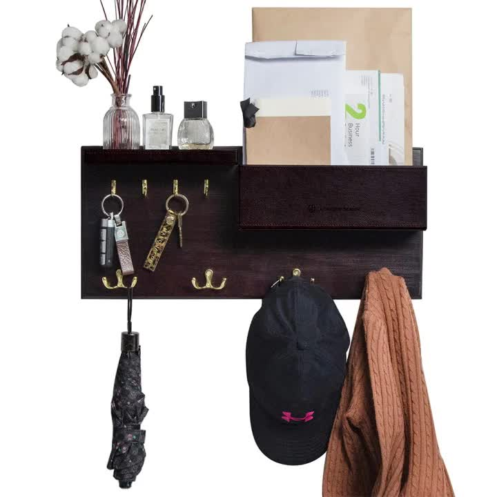 Entryway Coat Rack Wall Mount Key Holder Mail Envelope Hook Organizer Clothes Hat Hanger with Faux Brown Leather Shelf and Tray
