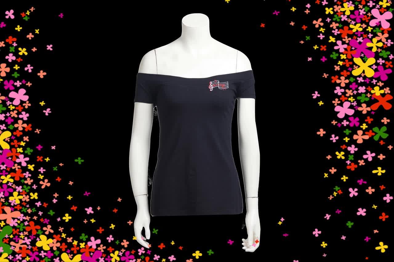 Off Spalla T-Shirt Donne Americane di Lavoro del Cotone di Usura Casuale Nero Sexy Camicetta Disegni Con Ricamo