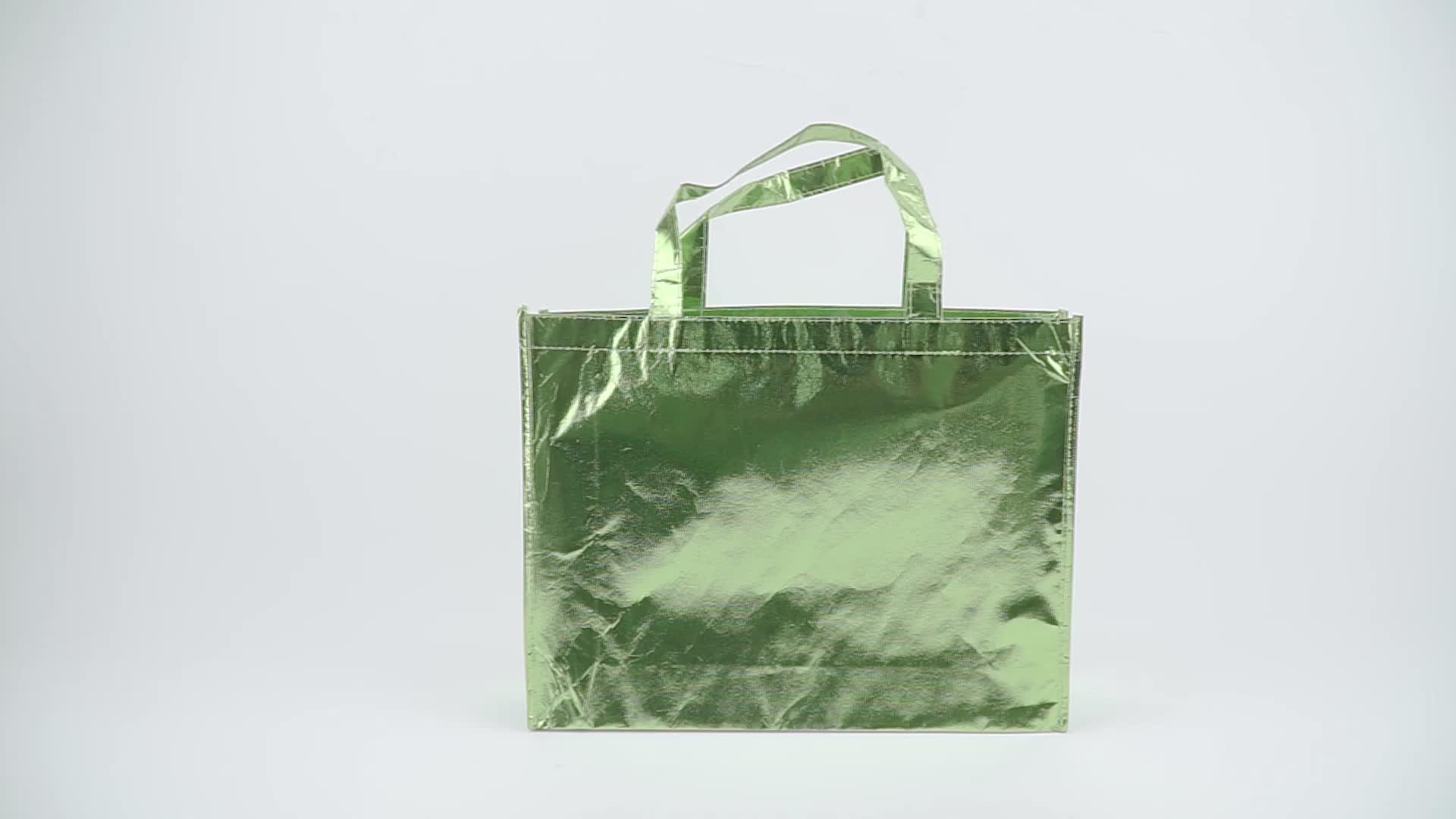 Custom hoge kwaliteit non-woven met glossy gelamineerd pp non-woven boodschappentas/draagtas