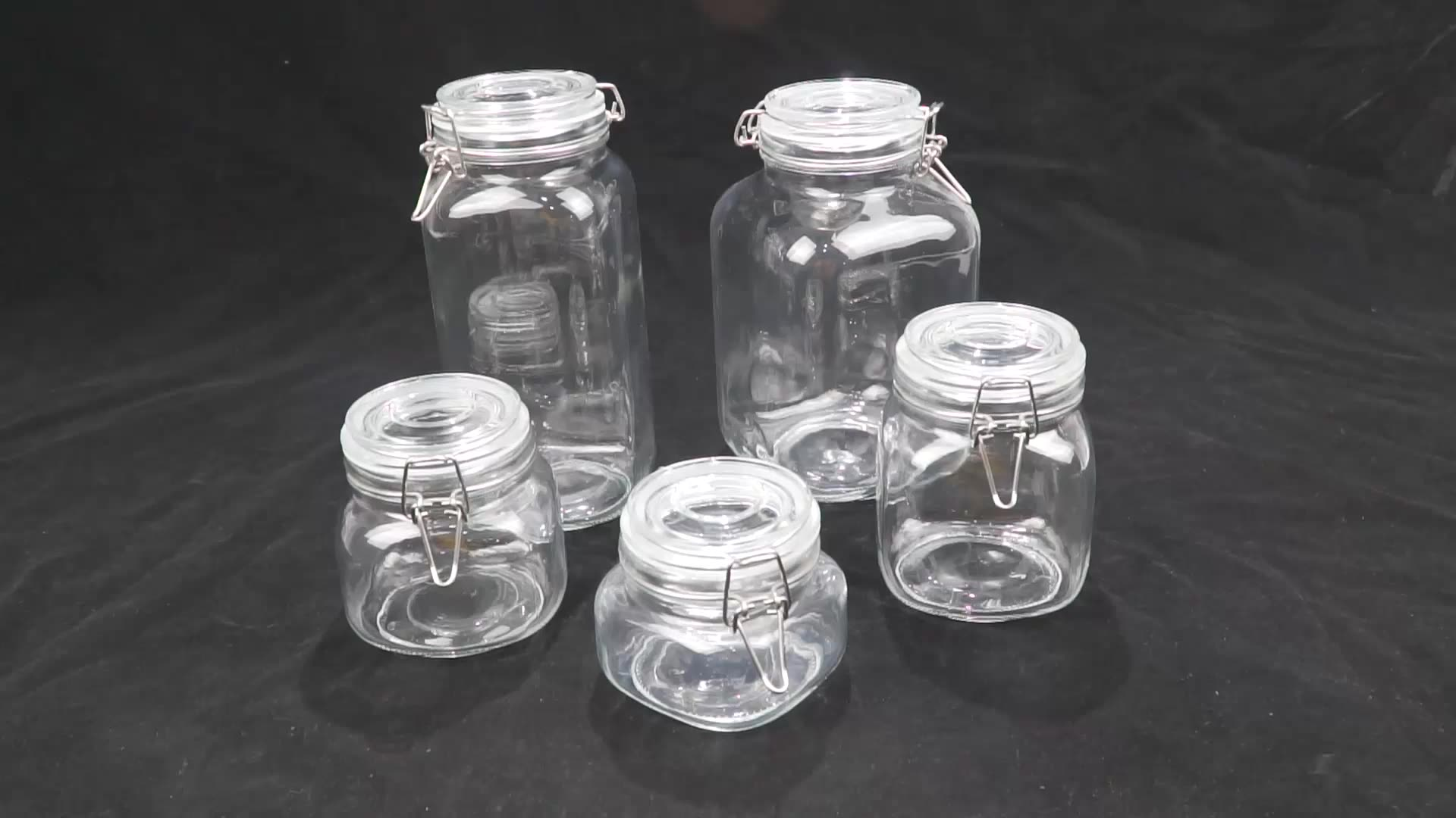 Multi-Purpose Kitchen Containers clear round Food Storage Canister Storage Glass Jar
