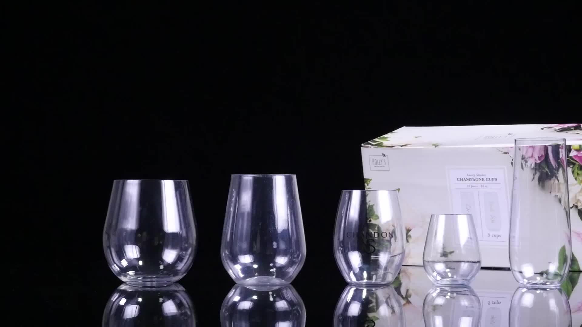 Tanpa Tangkai Plastik Anggur Kaca Anti Pecah Dapat Digunakan Kembali Tritan Gelas Anggur 4 Set