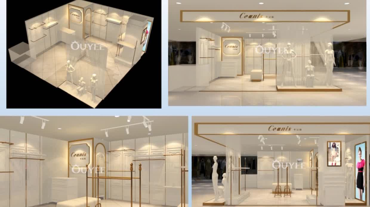 Fashion women cloth shop interior design ideas garment showroom clothing display rack