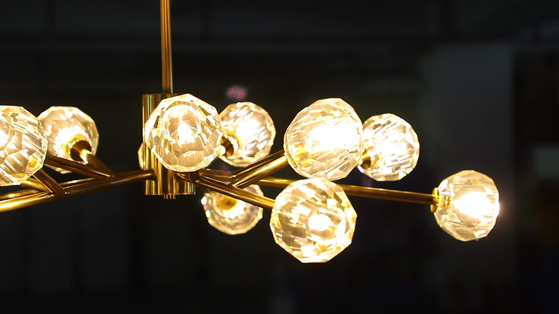 Contemporary dining room brass luxury copper light gold glass crystal pendant chandelier
