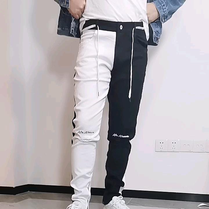 Высокое качество Мужские джинсы скинни потертые узкие облегающие модные двухцветные брюки пользовательские джинсы для мужчин