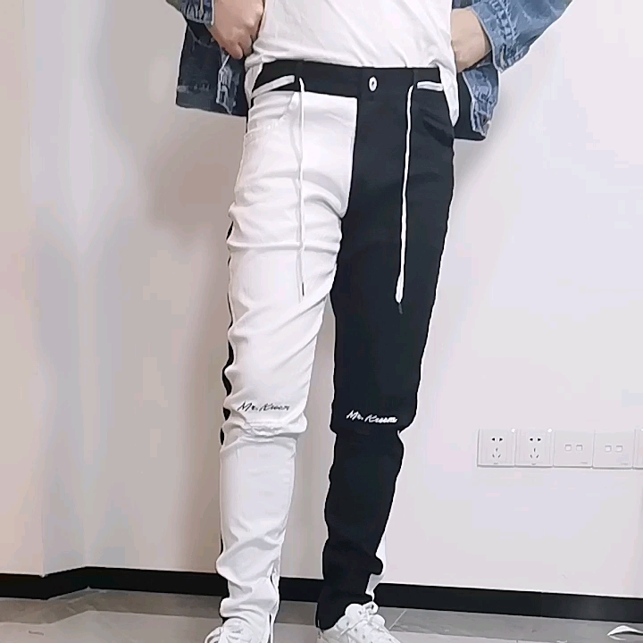 High quality men denim jeans skinny fit distressed slim fit fashion two tone pants custom denim jeans for men
