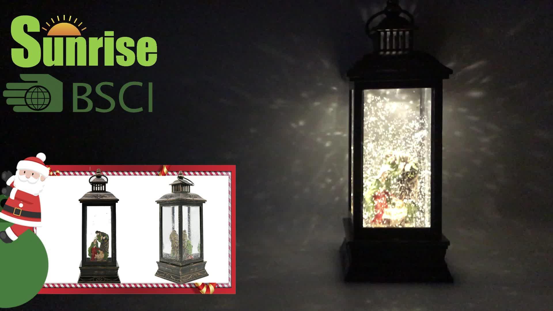 """11 """"สูง Nativity และ Angel โคมไฟของขวัญ lighted musical ปั่น snow globe โคมไฟของขวัญคริสต์มาสในร่มตามฤดูกาล"""