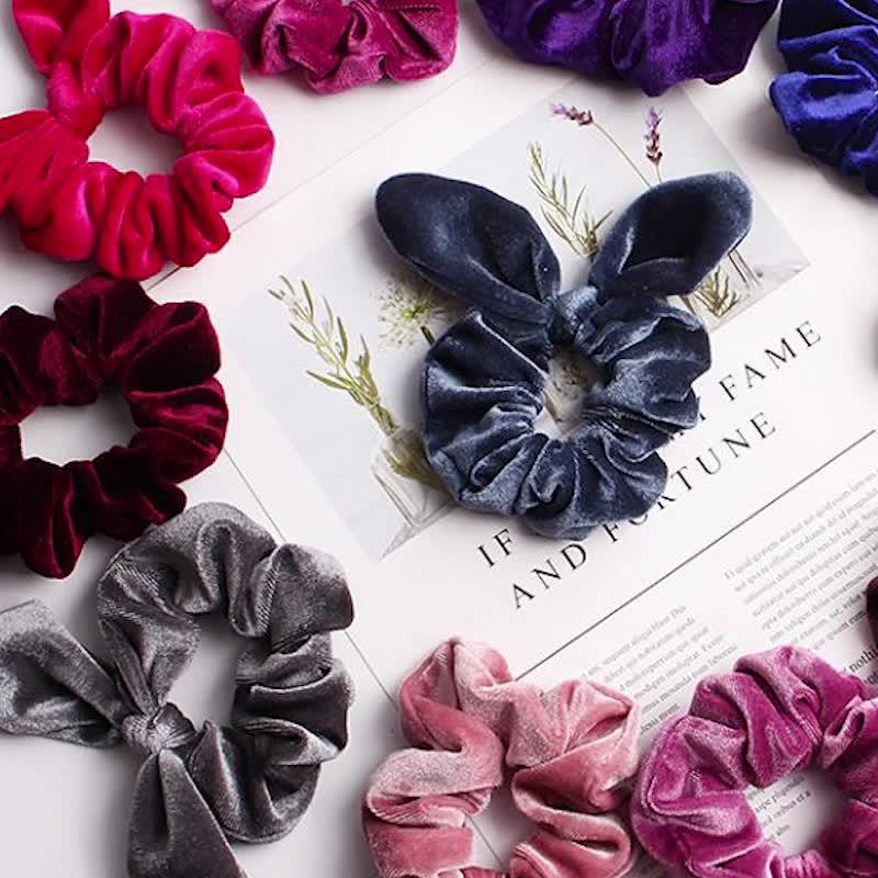 Wholesale Elastic Scrunchies Velvet Rabbit Ears Bowknot Hair Band for Girls