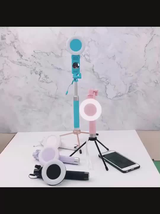 Guangdong Factory New Cable selfie stick with LED Light Handheld Beauty Monopod for Smartphone Shooting