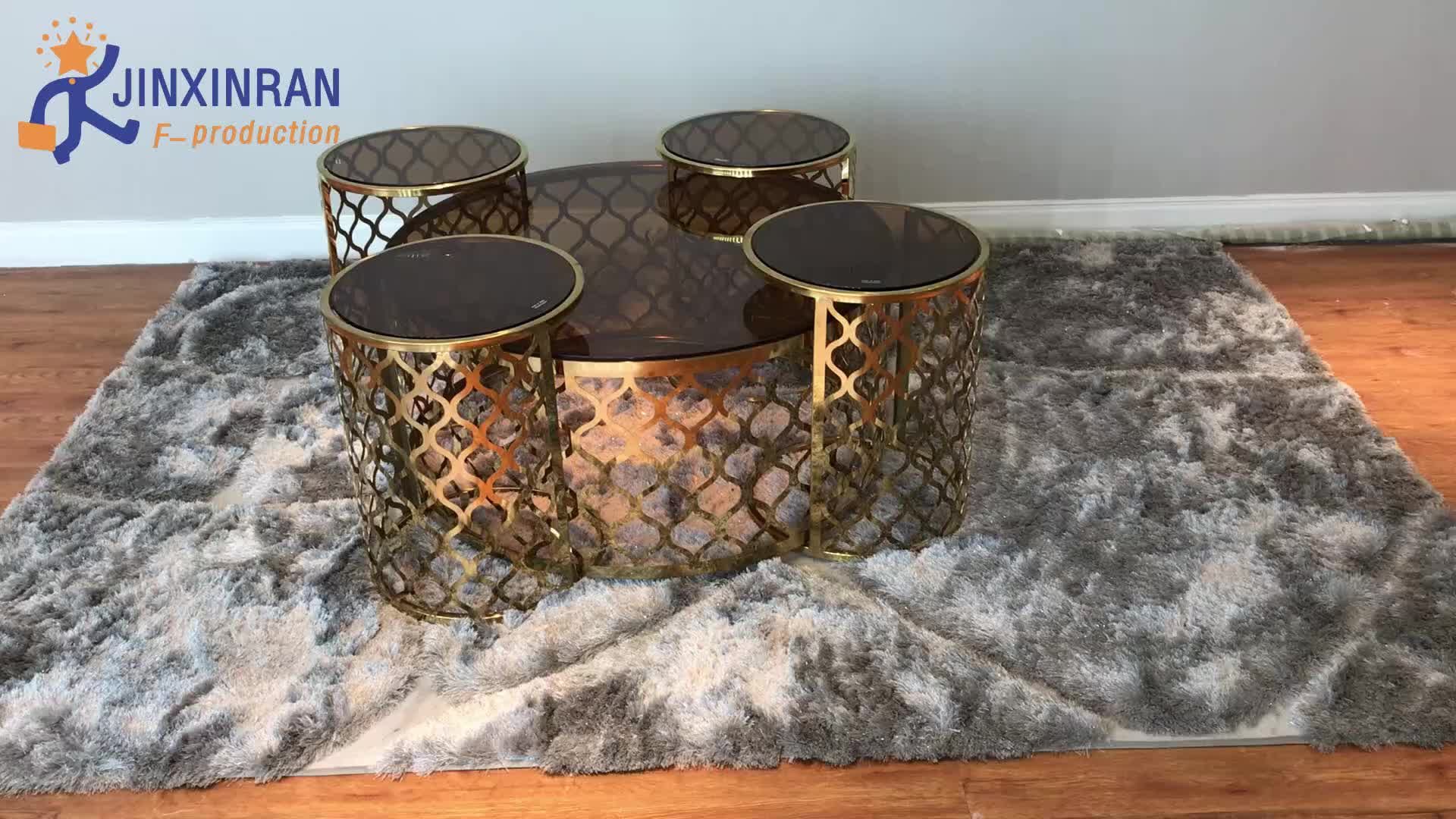 wholesale customized golden round tea table for living room stainless steel glass top removable coffee tea table