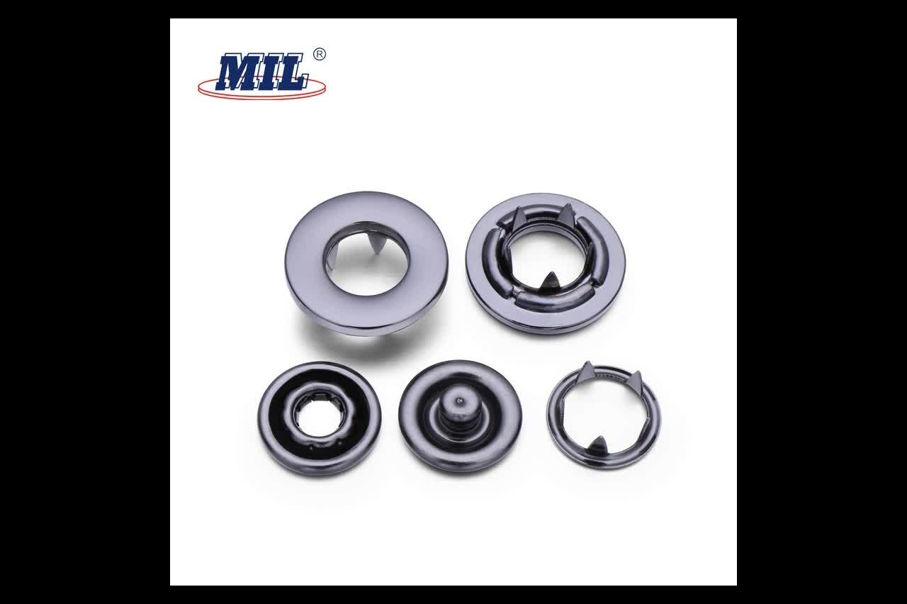 Custom 13L Black Enamel Cap Brass Metal Ring Prong Snap Button Fastener