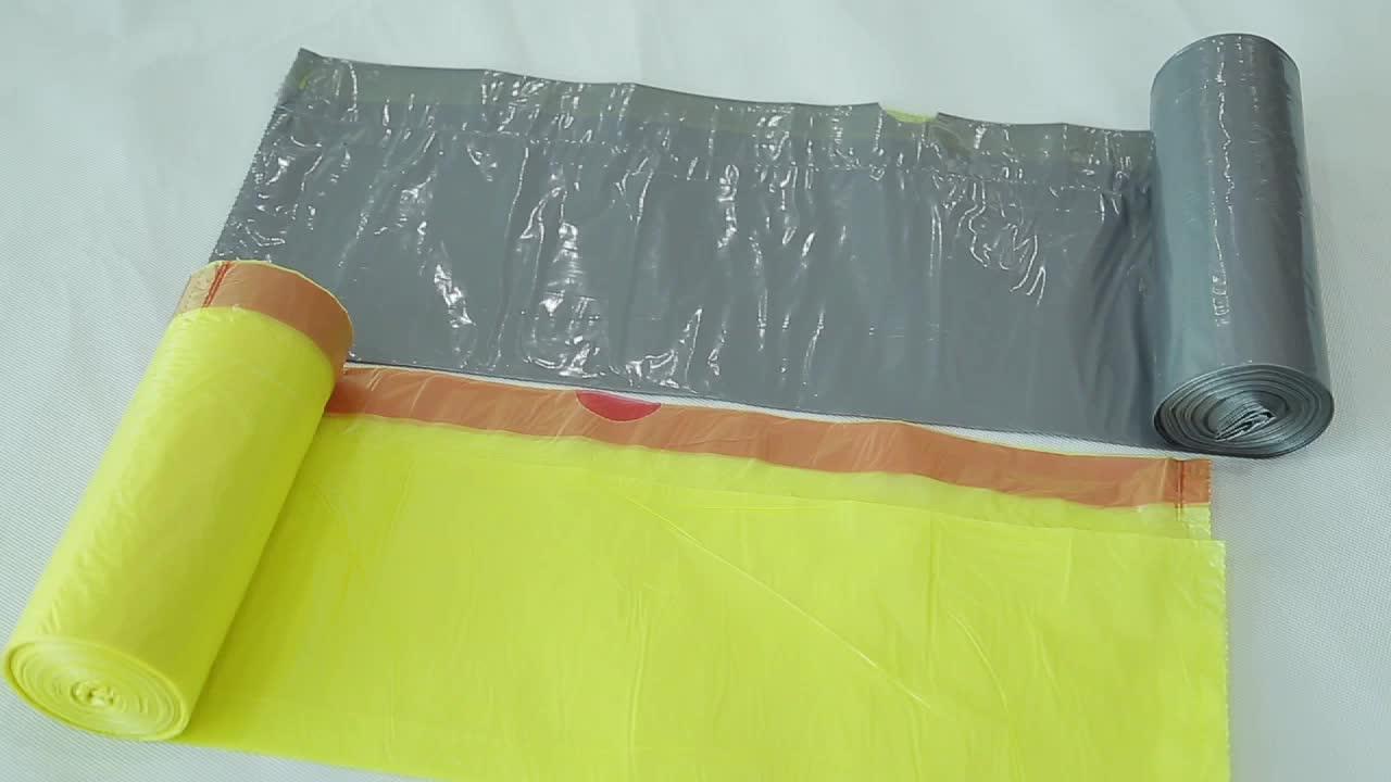 Custom Logo Printing drawstring garbage bag  interleaved plastic trash bag