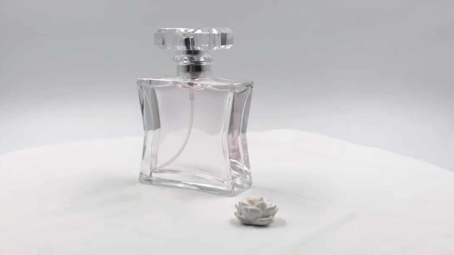 Empty 50ml Fancy elegant Waisted Shape Perfume Glass Bottle With Ps Acrylic Cap