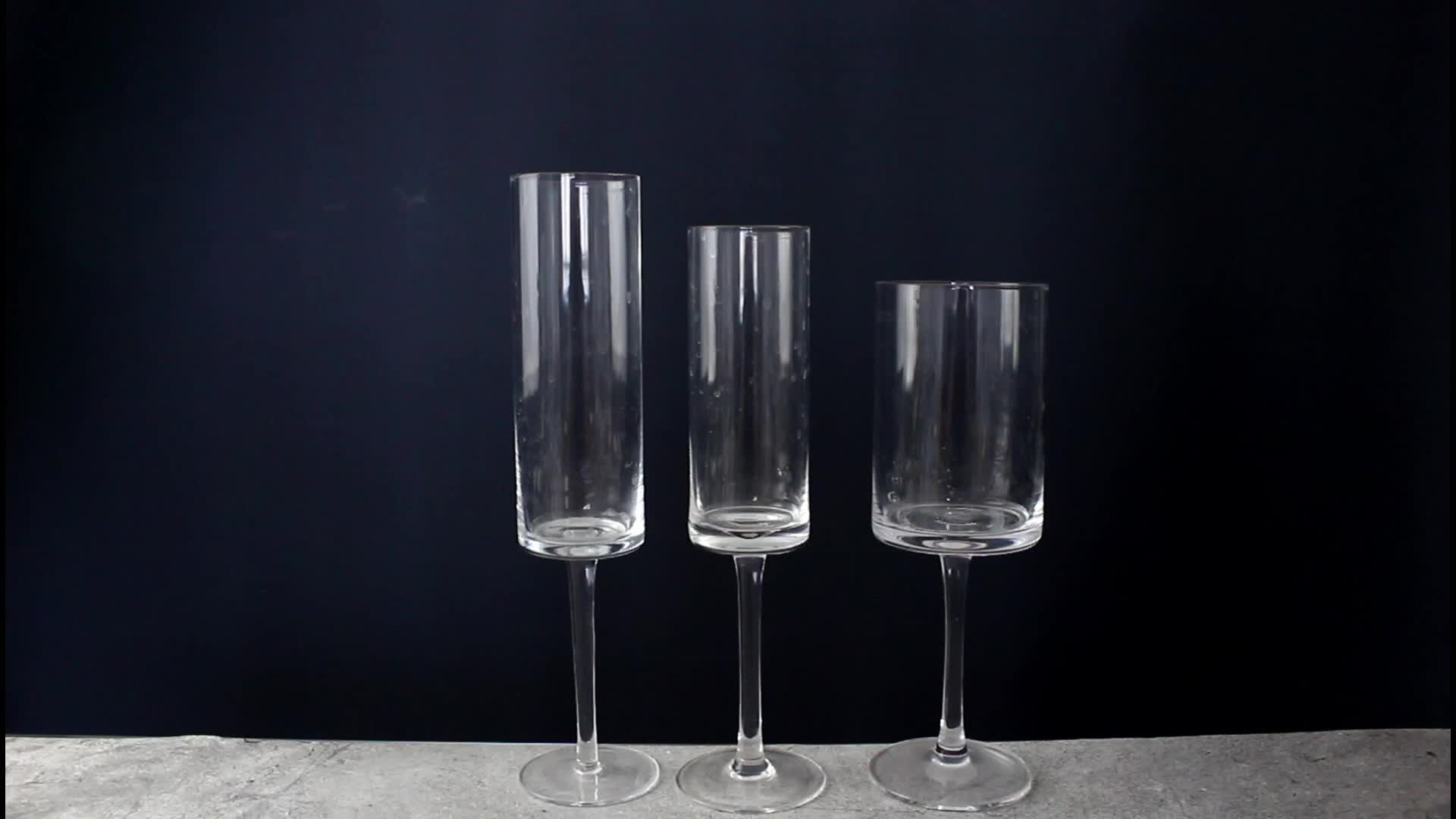 leadfree crystal set of 3 goblet square glass for water wine and champagne