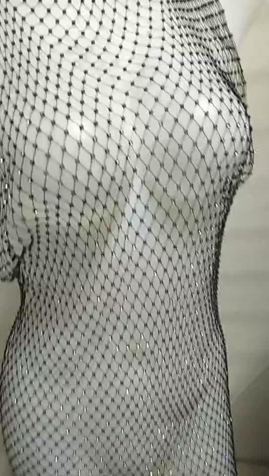 Sexy Diamond fishnet Tank Top Women Hollow Out Elastic See Through Rhinestone Crop Tops dress clubwear
