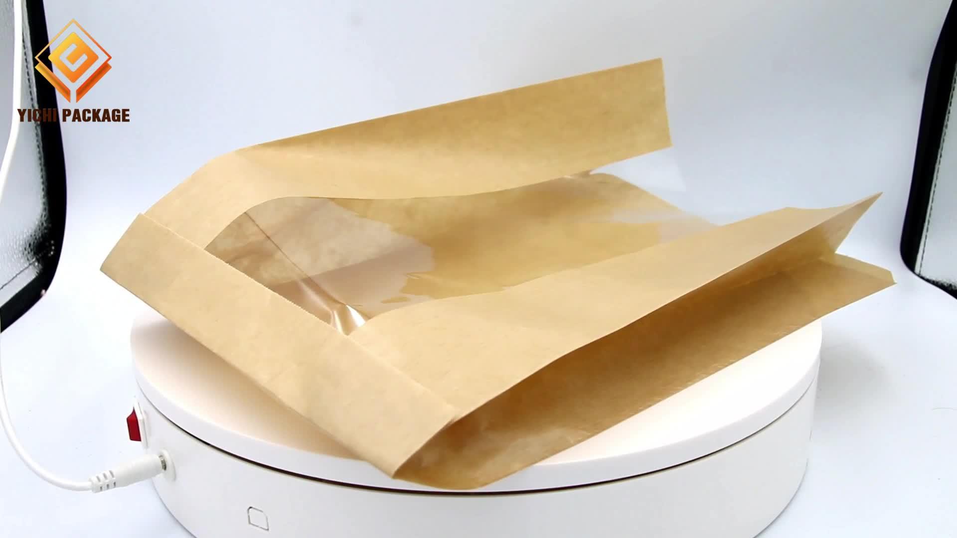 Moda barata Pequena Cozimento Rosquinha Torradas de Pão de Embalagem Saco de Papel Marrom Kraft Com Janela Transparente Para Alimentos