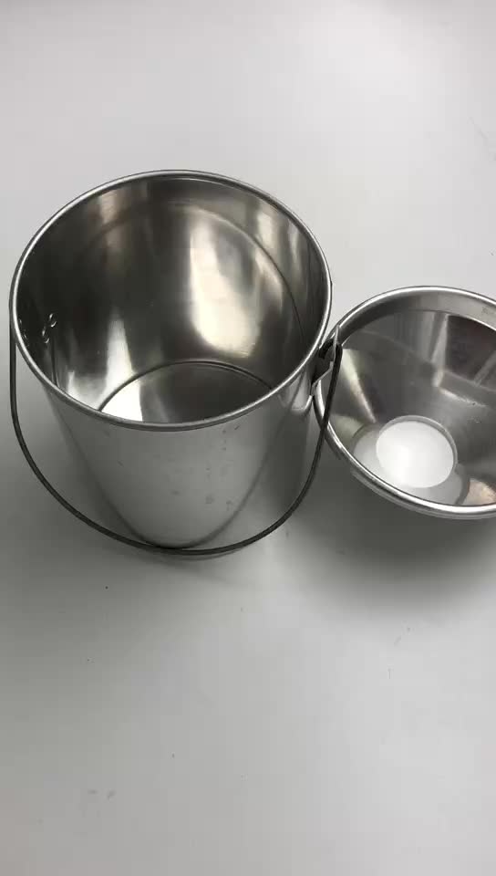 cheapest industrial aluminum metal bucket with aluminum metal cover with curved handle