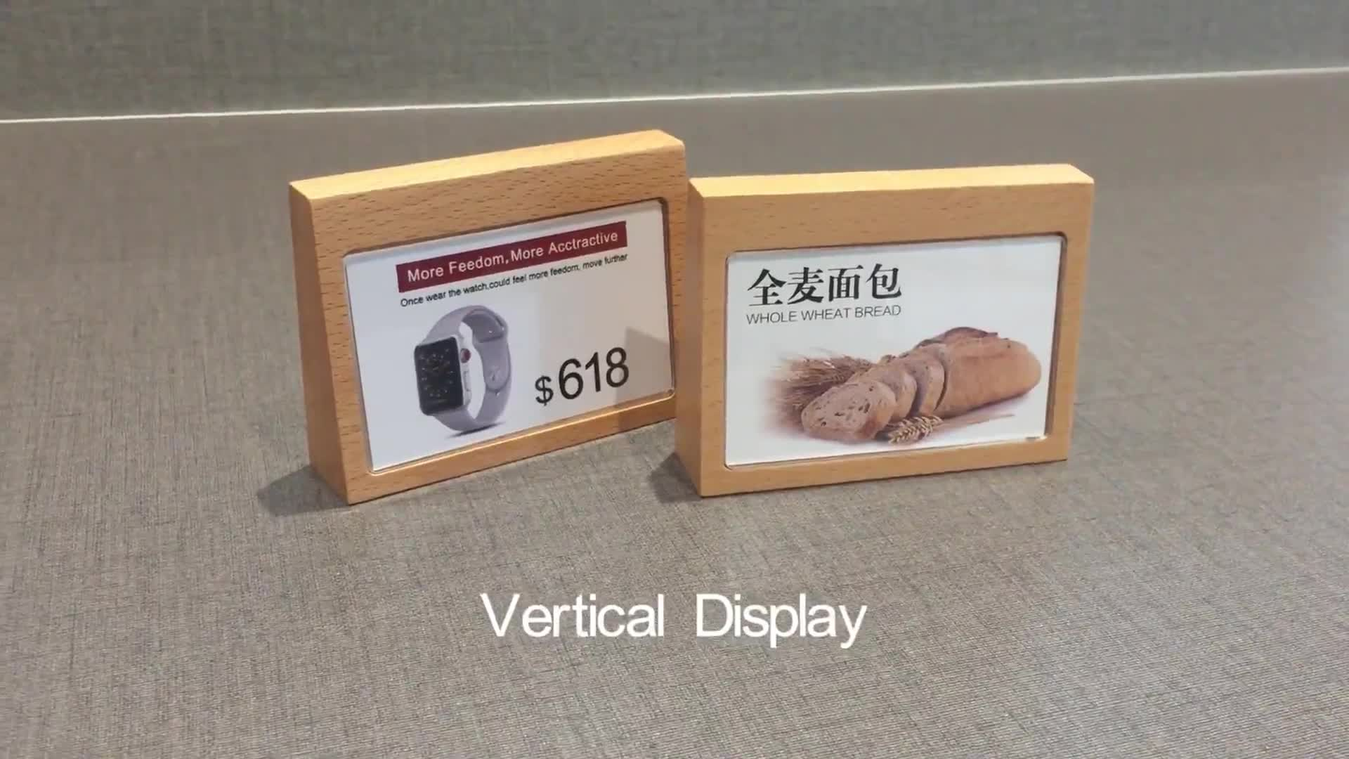 wood acrylic Advertising Tag Sign Card Display Stand Acrylic Table Desk Menu price Label Holder Stand