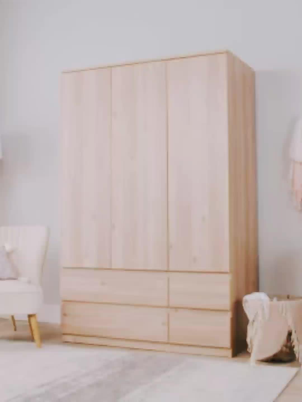 Nuevo Producto de estilo europeo puertas correderas de madera armario de espejo ropa dormitorio diseño elegante armario